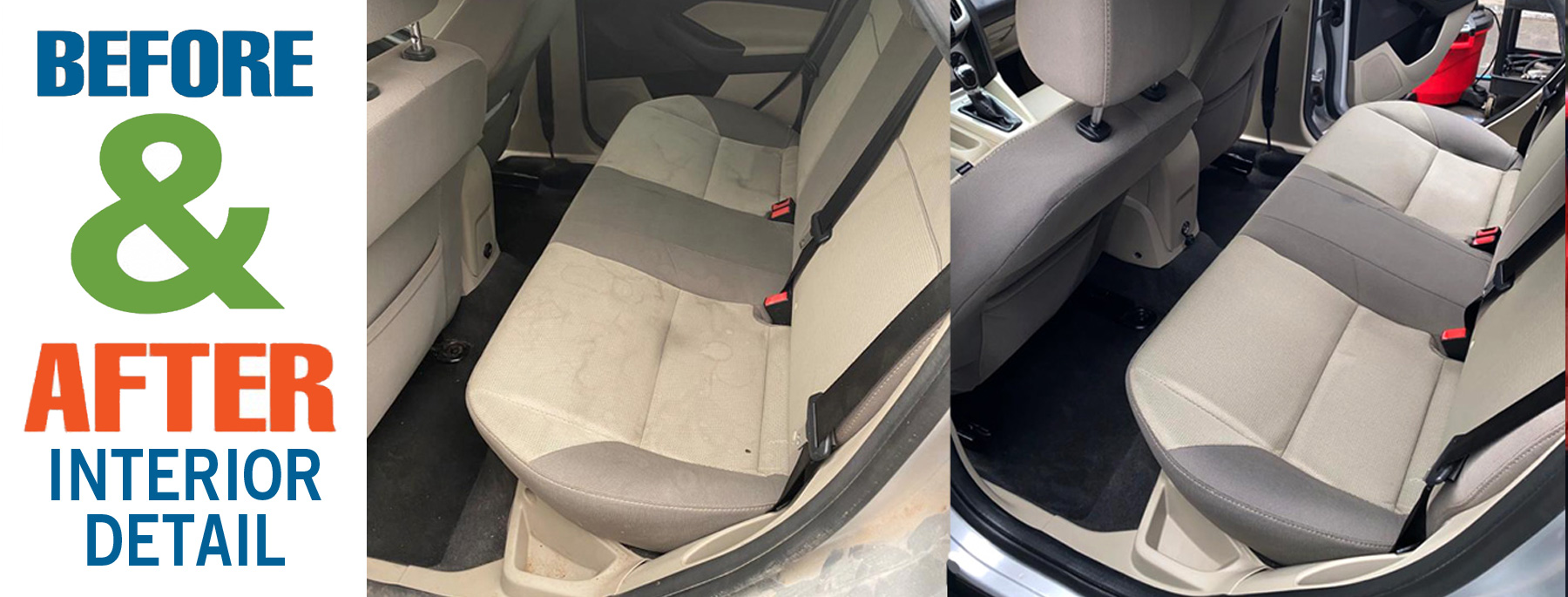 Before and after leather seat reconditioning at Sunset North Car Wash